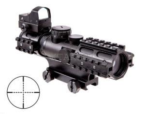 Прицел оптический NcStar Mil 2-7X Green Dot & Laser, код KAR3RSM2732G