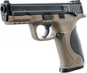 Пневматический пистолет Smith&Wesson MP40 TS FDE, к.4,5 мм BB, 95 м/с, черный металический затвор c блоу-бэк, код 5,8319