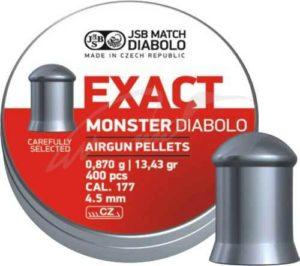 Пули пневматические JSB Diabolo Exact Monster, 4.52 мм , 0.87 гр. (200шт/уп), код 1453.05.70