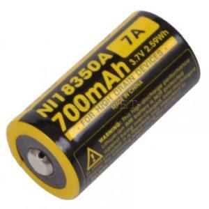Аккумулятор литиевый Li-Ion IMR 18350 Nitecore 3.7V (700mAh), код 6-1184