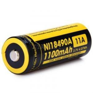 Аккумулятор литиевый Li-Ion IMR 18490 Nitecore 3.7V (1100mAh), код 6-1186