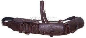 Патронташ кожаный однорядный с тиснением 12 к на 18 патронов, код 2000