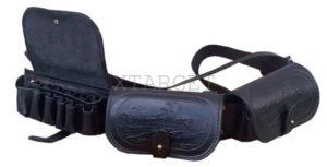 Патронташ кожаный двухрядный с тиснением 12 к на 36 патронов, код 2001
