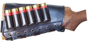 Патронташ кожаный на приклад  с тиснением 12 к на 6 патронов, код 2003