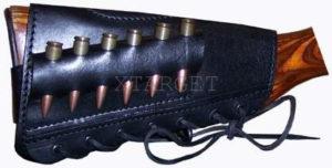 Патронташ кожаный на приклад  с тиснением 7,62к на 6 патронов, код 2004