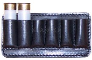 Патронташ кожаный на пояс 12 к на 6 патронов, код 2006