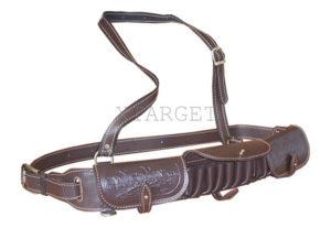 Патронташ кожаный однорядный с тиснением 12 к на 18 патронов. Подарочный, код 2007