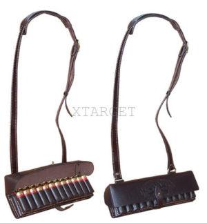 Патронташ кожаный двухрядный  12 к на 24 патрона. Плечевой, код 2008