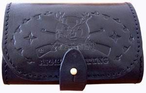Подсумок кожаный  с тиснением 7,62 к на 7 патронов, код 2302