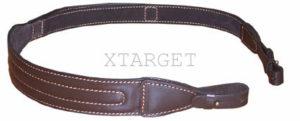 Ремень ружейный кожаный с фиксатором для руки с подкладом( замша) с креплением на кобурной застежке, код 2205