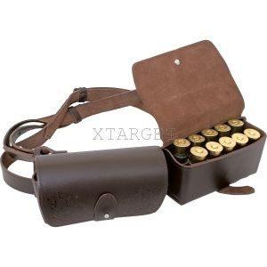 Кожаный футляр на 20 патронов для гладкоствольного оружия, 2-х секционный, код ФП-3р