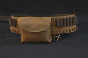Патронташ  Artipel поясной кожаный с карманом для карабинов, код CA07