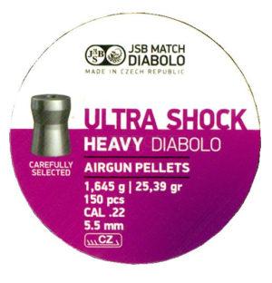 Пули пневматические JSB Heavy Ultra Shock 5.5 мм , 1.645 г, 150 шт/уп, код 1453.05.61