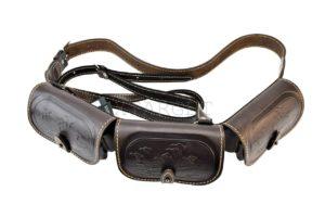 Патронташ кожаный двухрядный с тиснением 12 к на 36 патронов. Подарочный, код 2005