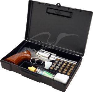 Кейс MTM Handgun Storage Box 804 для пистолета/револьвера с отсеком под патроны (24,9×16,0x5,1 см), код 1773.08.78