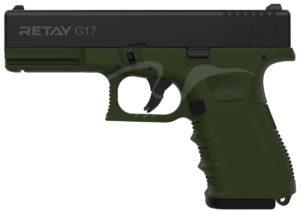 Пистолет стартовый Retay G17 9 мм, цвет олива, код 1195.08.16