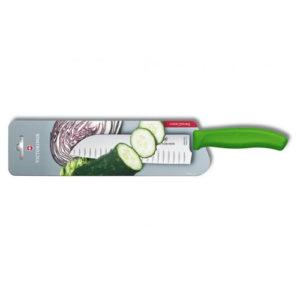 Кухонный нож Victorinox Santoku 6.8526.17L4B с воздушными карманами, лезвие 17 см / салатовый