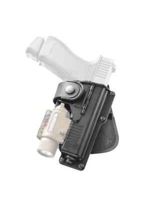 Кобура Fobus RBT19G BH RT для Glock-19/23 с подствольным фонарем, с креплением на ремень, поворотная, код 2370.23.19
