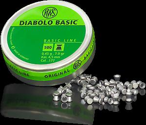 Пули RWS Diabolo Basic 4.5 мм, 0.45 гр, 500 штук, код 2315092
