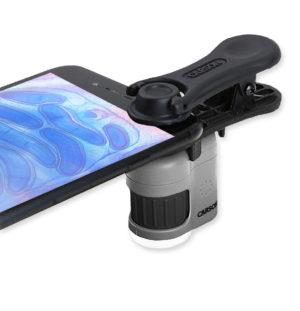 Микроскоп-брелок Carson MicroMini HookUpz 20Х с магнитным смартфон адаптером и фонарик/ультрафиолет, код MM-380